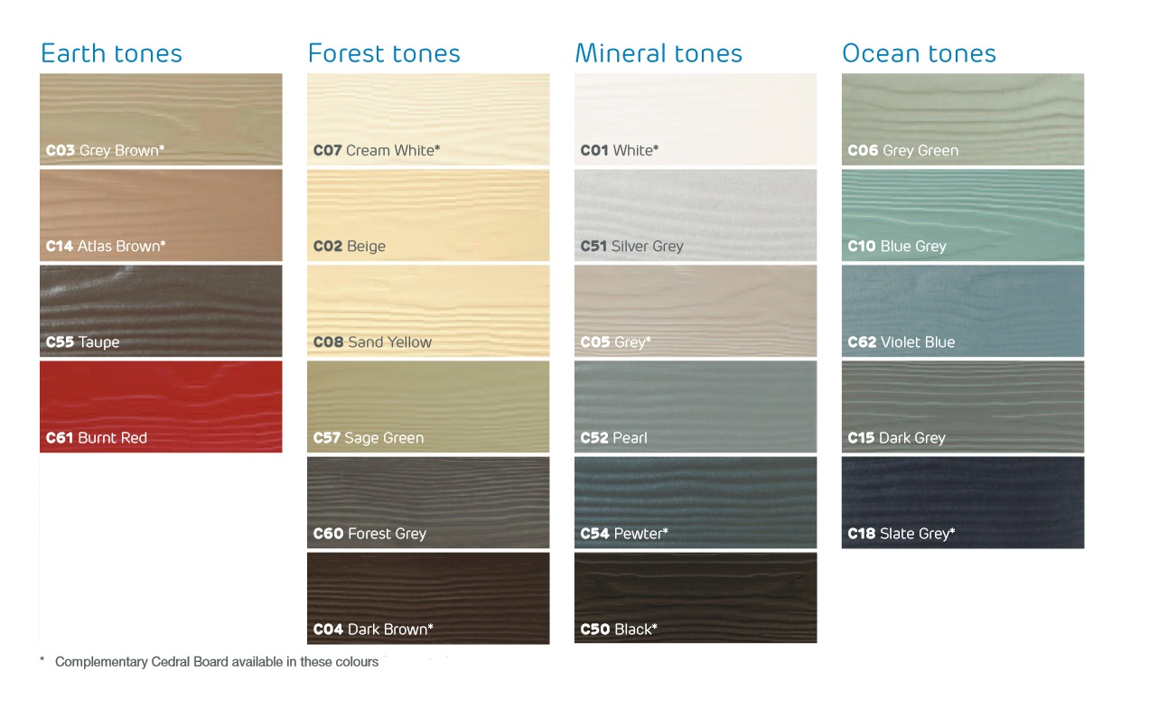 Range of Cedral Lap Cladding Colours Available